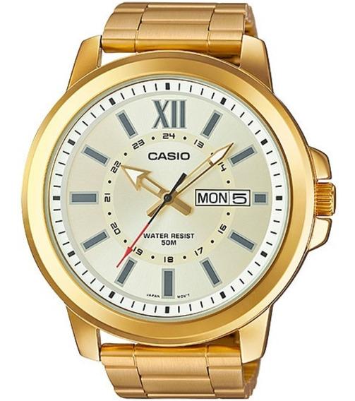 Relógio Casio Analogico Dourado Grande Mtp X100zg Garantia