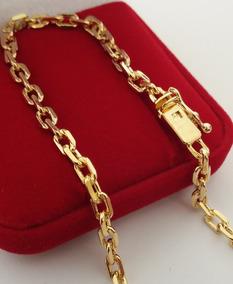 Pulseira Masculina Banhada A Ouro 18k 3mm Elo Cadeado