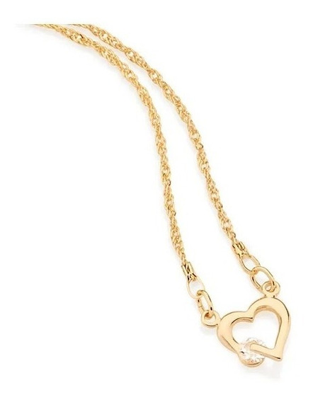 Gargantilha Colar Rommanel Coração Vazado Cristal 531182