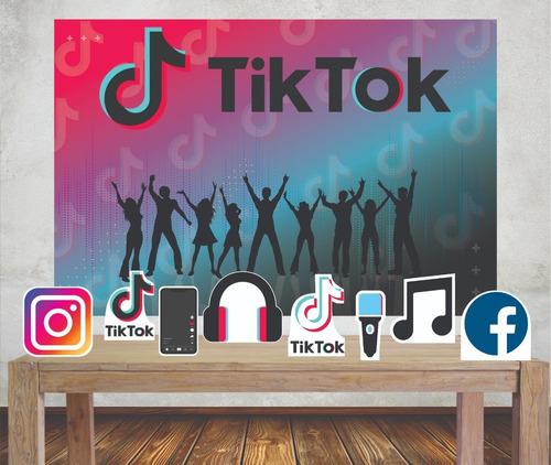 Imagem 1 de 4 de Kit Painel Poli Banner + Displays Festa Tik Tok Rede Social