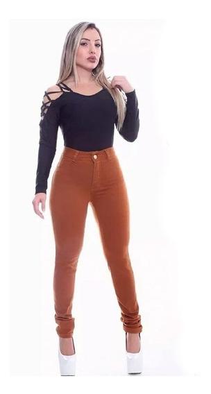 Kit Com 2 Calças Jeans Feminina Cintura Alta Com Lycra