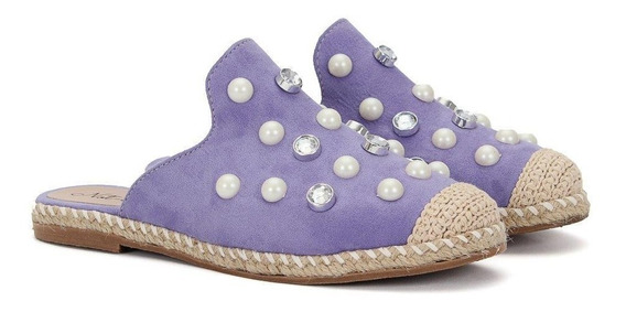 Sapato Rasterinha Sapatilha Mule De Pedras Not Me Lilas