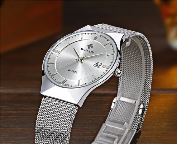 Relógio Ultra Slim De Luxo Masculino Wwoor Movimento Japonês