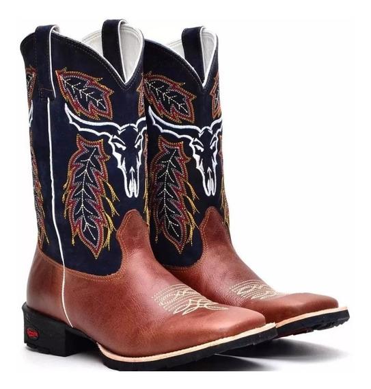 Bota Texana Country Masculina Bic Quadrad Couro Boi