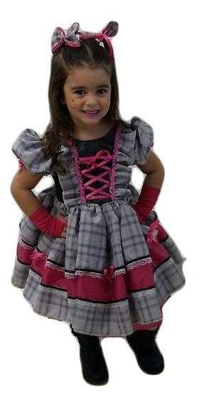 Vestido De Festa Junina Caipira Infantil Com Luva E Fitas
