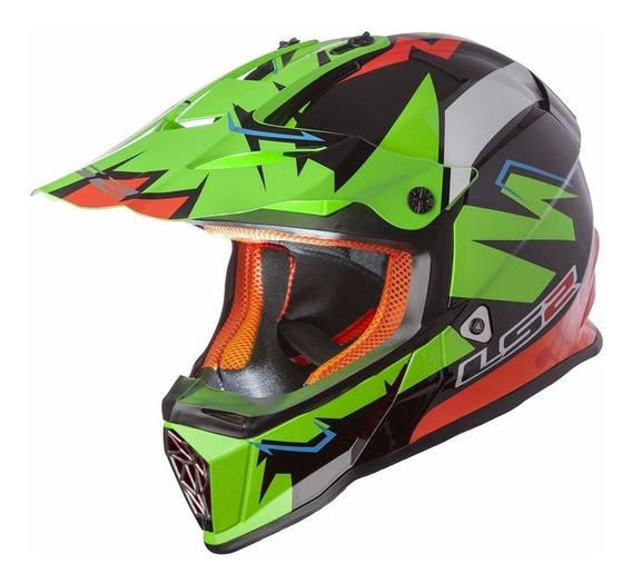 Casco De Cross Moto Ls2 437 Fast Explosive Green Yuhmak