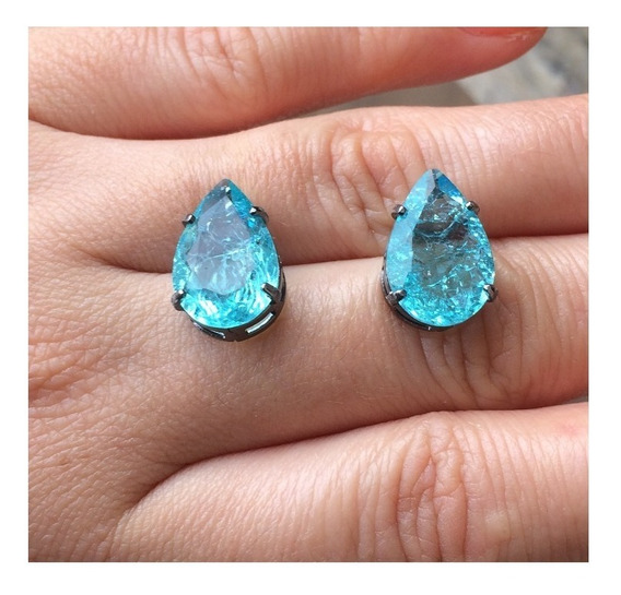 Brinco Gota Cristal Azul Aqua Fusion Ródio Negro - Tam Médio