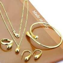 Pulseira,anel,brincos,corrente Banhado Ouro Conjunto