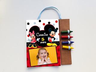 Kit 30 Lembrancinhas Revista Para Colorir + Giz Minie Mickey