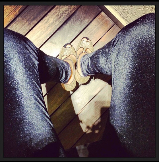 Calza Long Legs Negra Talle Único Brilloso