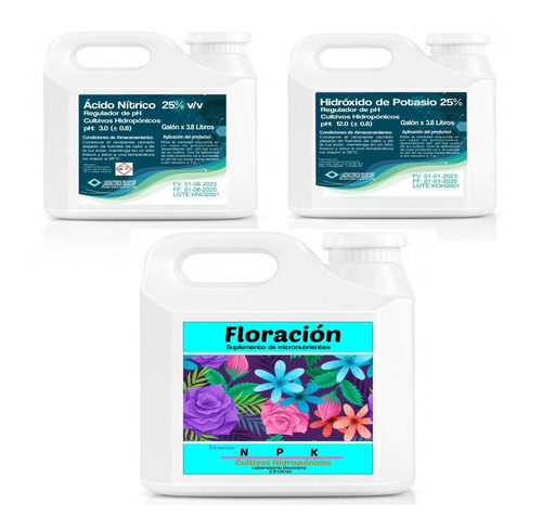Kit Hidropónico Nutriente + Reguladores De Ph