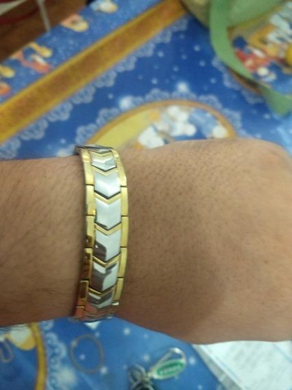 Pulseira Magnética Tungstênio Banhado A Ouro