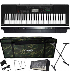Kit Teclado Casio Ctk3400 Arranjador Musical 5/8 Camuflado