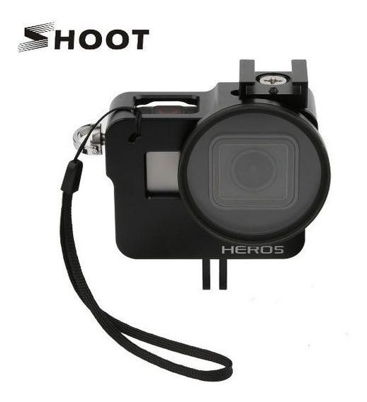 Case Proteção Frame Alumínio + Lente Uv - Gopro Hero 5 6 7