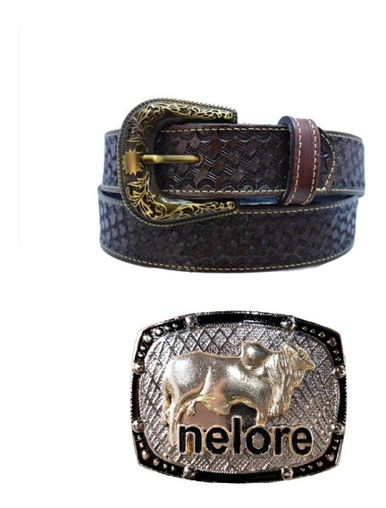Fivela Country Cowboy Nelore + Cinto Couro Legítimo