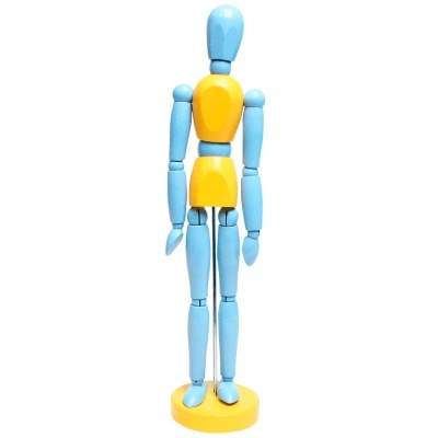 Boneco Manequim Articulado 30cm Vintage Color Azul & Amarelo