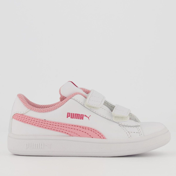 Tênis Puma Smash V2 L Infantil Branco E Rosa