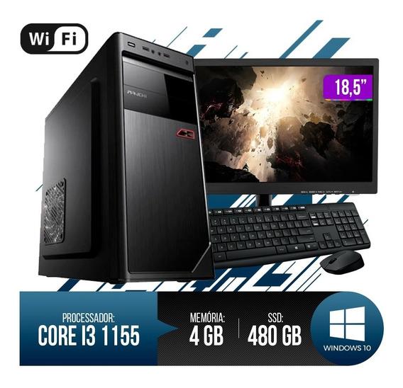 Pc Completo Core I3 4gb Ram Hd Ssd 480gb Monitor 18,5 Led