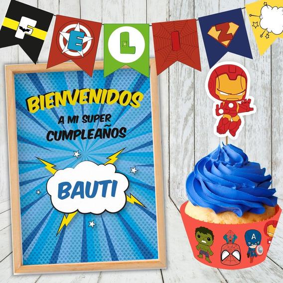 Kit Imprimible Cumpleaños Superheroes