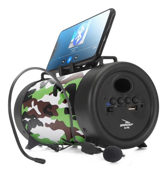 Caixa Caixinha De Som Bluetooth D-p Microfone Pc Mp3 Usb P2