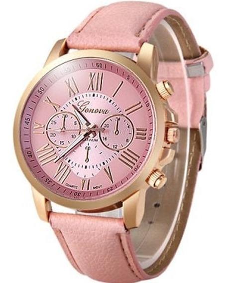 Relógio Geneva R12 Rosa Feminino Pulseira De Couro Frete Grá