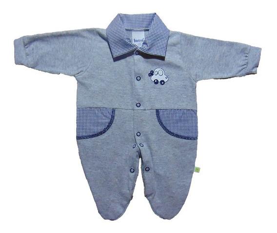 Macacão Bebê Prematuro Menino Detalhe Em Tecido 100% Algodão