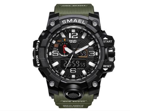Reloj Militar Smael 1545 Verde S Shock Táctico Sumergible