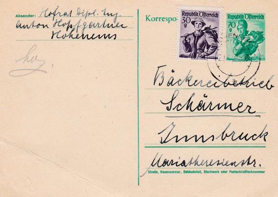 Austria 1952 Carta Postal Con 2 Sellos Postales E33