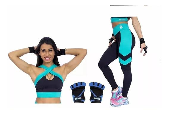Conjunto Kit Fitness Academia Feminino Legging + Top + Luva