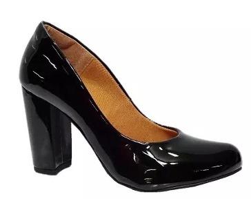 19123862f Sapato Feminino Salto Grosso Preto Verniz Ana Gimenez 855a - R$ 99,50 em  Mercado Livre