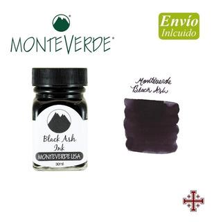 Tinta Para Pluma Fuente. Monteverde 30 Ml. Negro Cenizo.