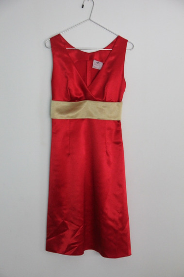 Vestido Vestidos Rojo Dorado Largo Fiesta