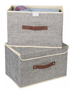 Imagen 1 de 2 de Juego De 2 Cubos De Almacenamiento Plegables Con Tapas Y Asa