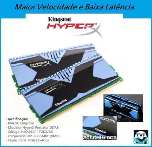 Memória Top Kingston Hyperx Predator Ddr3 2666mhz 2x4gb=8gb