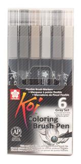 Marcadores Pinceles Arte Dibujo Diseño Koi Brush 6 Piezas