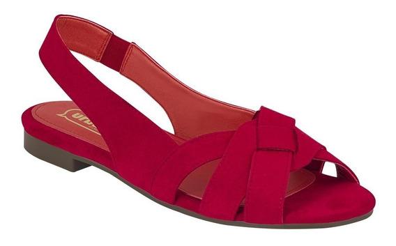 Calzado Zapato Flat Dama Mujer Dedos Abiertos Gamuza Rojo