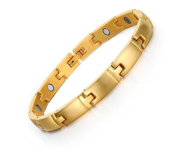 Pulseira Bracelete Masculino Feminino Aço Inox Banhado Ouro