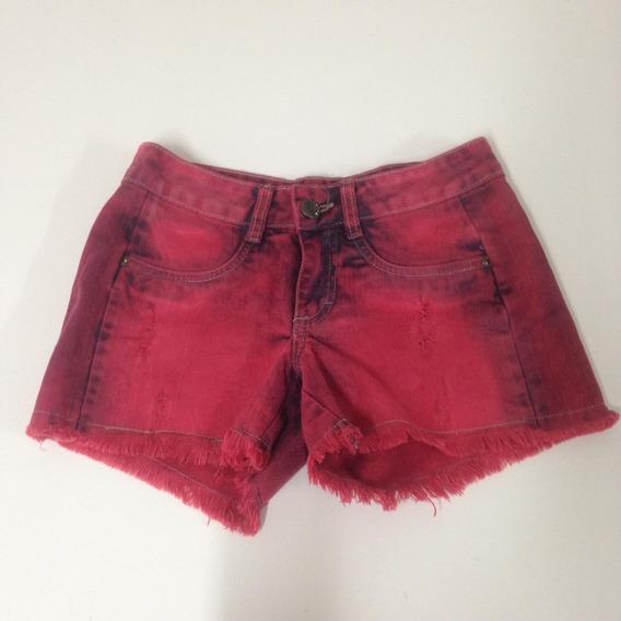 Short Jeans 36 Vermelho Destroyed Zoe (em Até 12x Sem Juros)