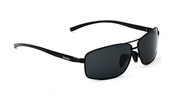 Óculos Sol Masculino Original Preto Retangular Polarizado