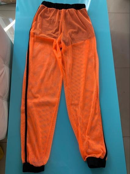 Pantalon Red Naranja Y Negro Babucha Regueton Talle 38