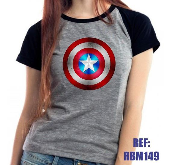 Camiseta Raglan Baby Look Capitão América Vingadores Mescla