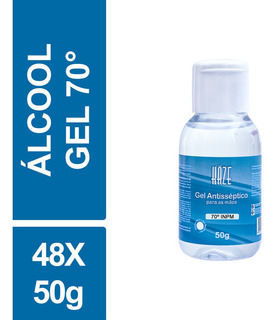 Mini Álcool Gel Atacado 70 Antisséptico Haze 50g Kit 48un