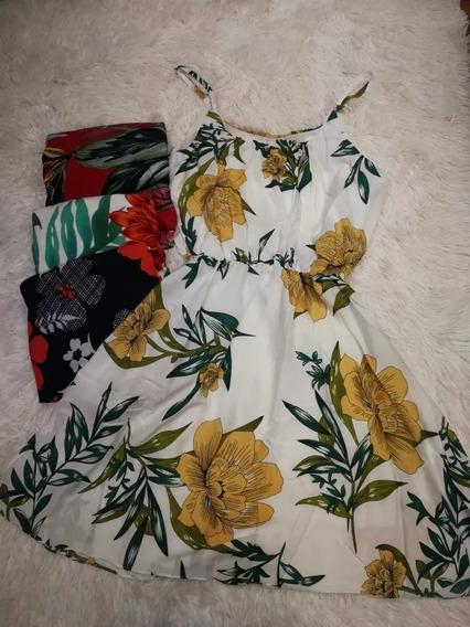 C/ 5 Vestido Curto Feminino Soltinho Viscose Floral Atacado