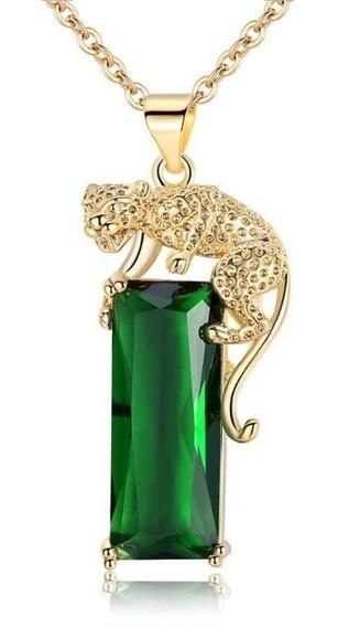 Collar Plata 925 Jaguar Dorado Zirconia Verde Encanto Mujer