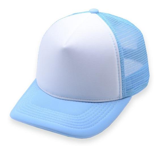 Boné Aba Curva Tkn Trucker Branco E Azul Bebê