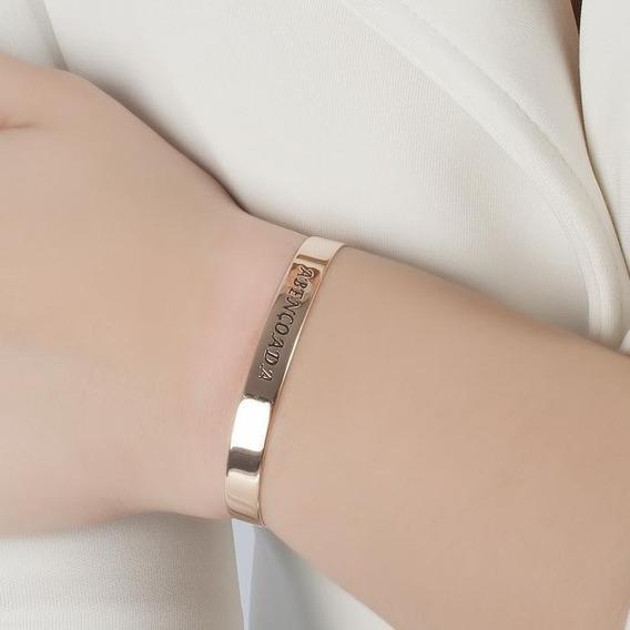 Bracelete Gravado Abençoado Rose Ouro Com Garantia