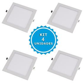 Kit 4 Plafon Painel Luminaria Led Embutir 6w