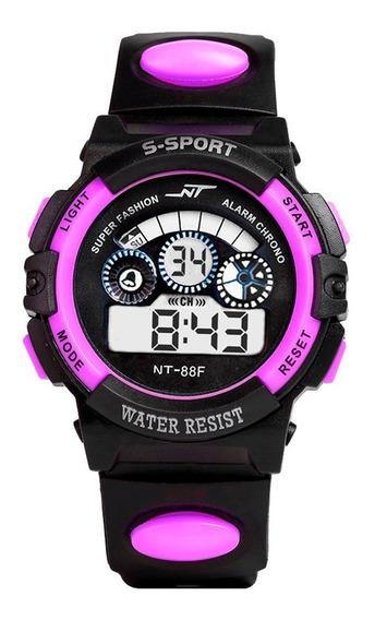 Relógio Digital Infantil Led Esportivo Nt Roxo + Brinde