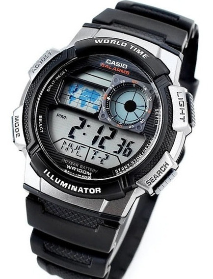 Relogio Casio Ae 1000w-1b Borracha Mapa Cronometro 5 Alarmes