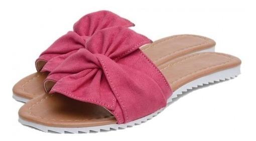 Sandália Rasteira Aberta Com Laço Moda Verão Conforto Cores